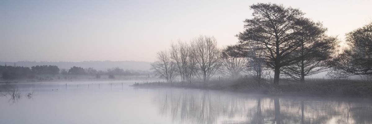 Beautiful tranquil panorama landscape of lake in mist